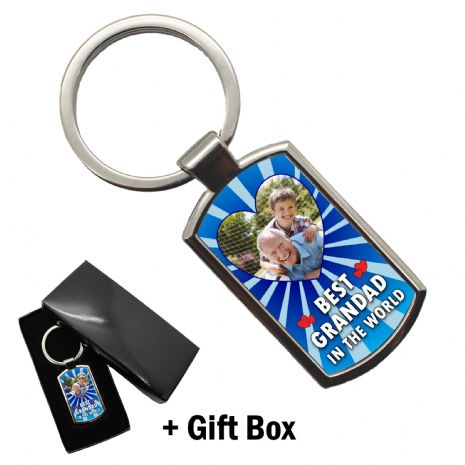 Personalised Best Grandad in the world PHOTO Metal Keyring with FREE giftbox N5